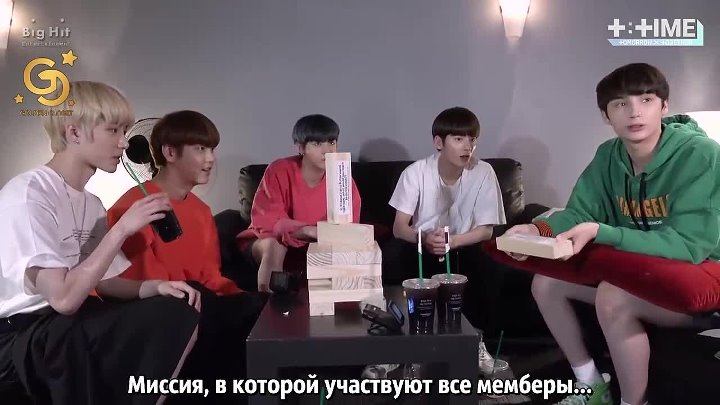 Golden Closet T TIME TOMORROW X TOGETHER practicing jenga game RUS SUB
