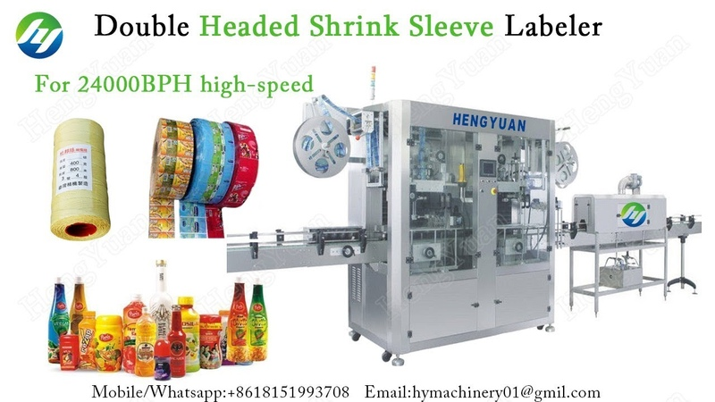 Double headed Shrink Sleeve Labeling Machine 24000BPH High speed Labe Applicator