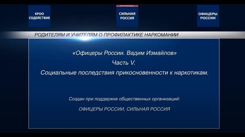 Офицеры России Родителям и учителям о профилактике наркомании Часть 5 Социальные последствия