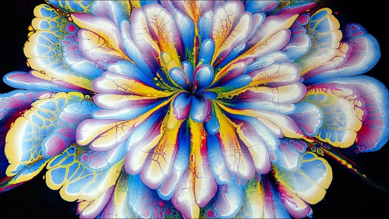 377 AMAZING acrylic pour FLOWER painting ~ Only 3 COLOURS ~ MUST SEE ~ Paint WithMe