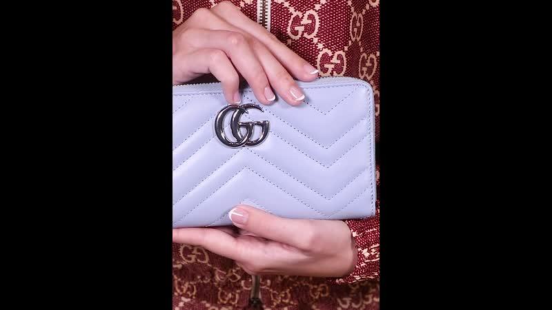 Женский кошелёк Marmont от Gucci из натуральной нежно голубой кожи