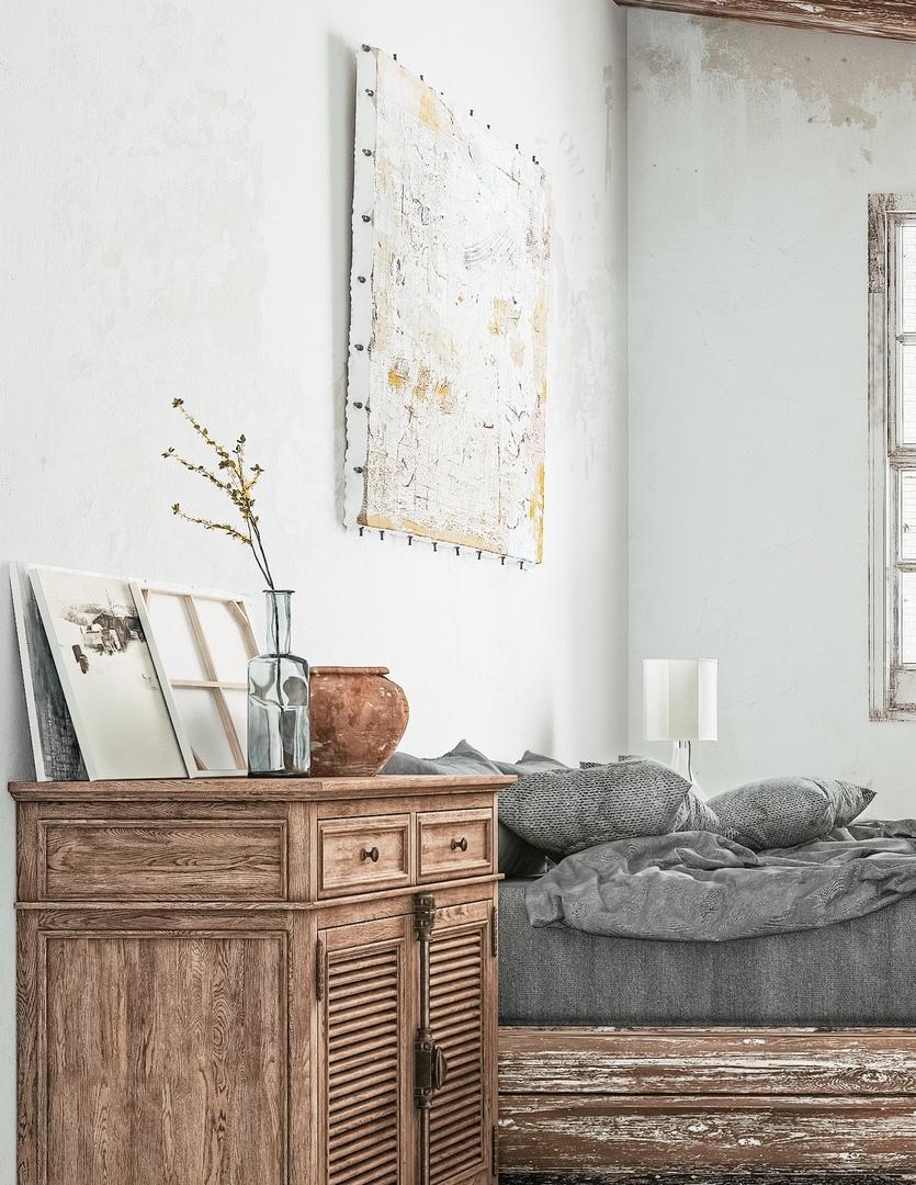 Спальня в стиле потёртого шика