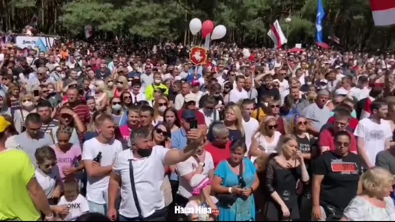 В Бресте очень много людей. Из за деревьев сложно увидеть количество человек