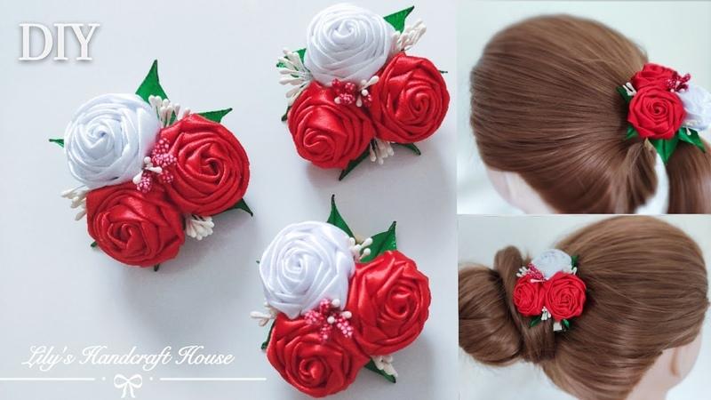 DIY handmade ribbon rose hair scrunchy hair clip🌹🌹:Lily's Handcraft House