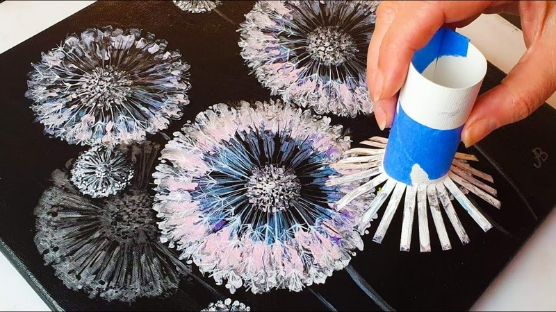 FANTASY Dandelion Acrylic POURING Tutorial Toilet Roll Painting Method ABcreative