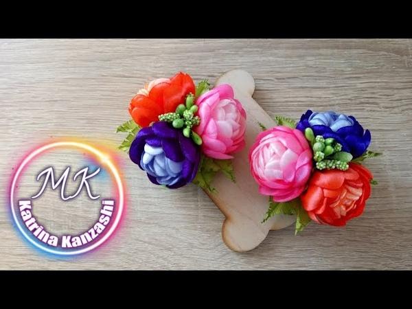 Зажимы с цветами из атласной ленты канзаши МК Clips com flores de fitas de cetim kanzashi MK