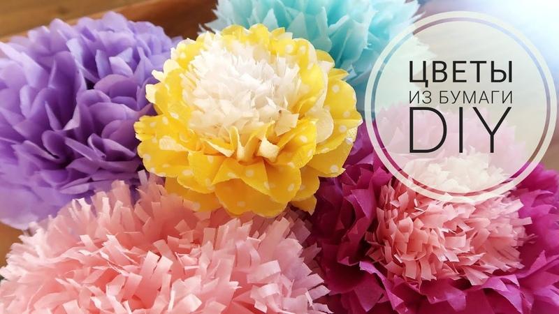 Цветы из бумаги или салфеток Очень просто как сделать Цветы пом поны своими руками