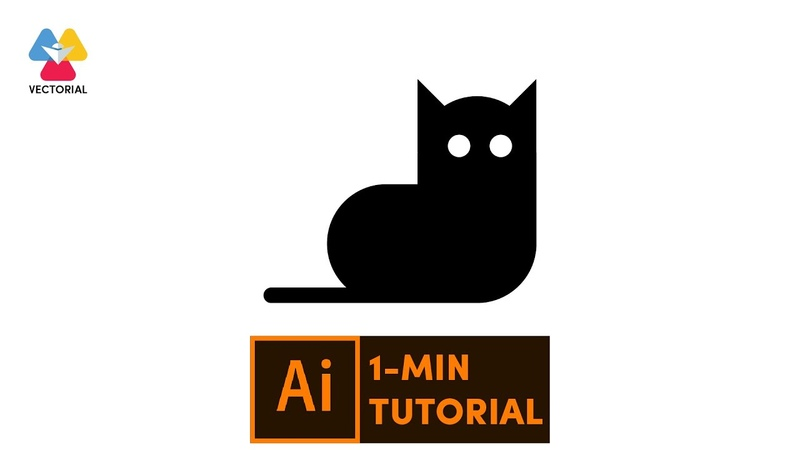 Cat tutorial in Adobe Illustrator 1 minute tutorial for beginner