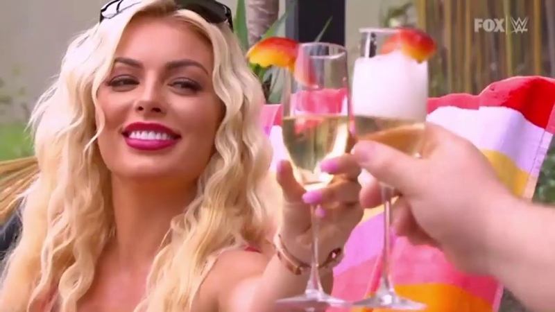 Otis and Mandy Rose celebrating in front of a pool: WWE SmackDown, May 29, 2020