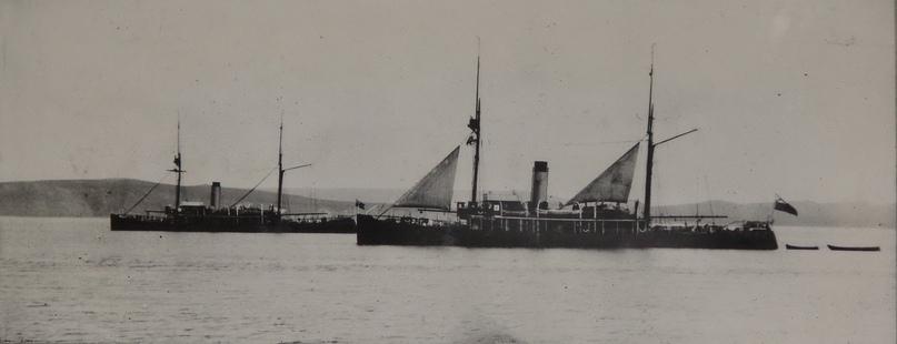 Ледокольные транспорты «Таймыр» и «Вайгач» в устье реки Анадырь, около Ново-Мариинска, 1913 г.