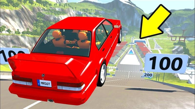 Кто дальше прыгнет! Прыжки машин в длину с трамплина! BeamNG drive челлендж! Бименджи драйв аварии!