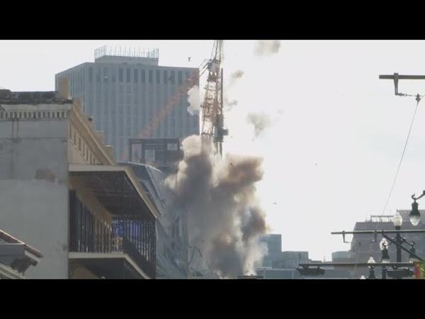 RAW VIDEO: Hard Rock Hotel collapse site crane demolition