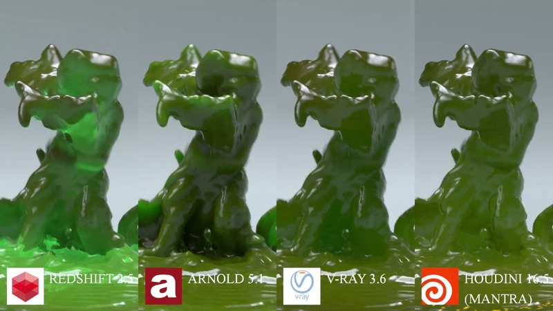 Render Comparison Test 10 Subsurface Scattering SSS Redshift Arnold V Ray Mantra