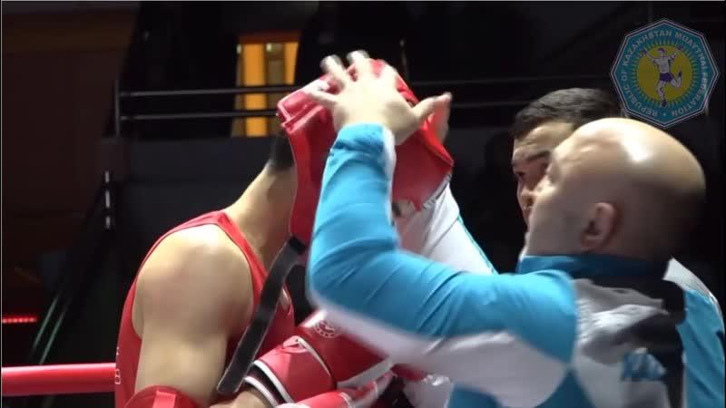 67kg: Nurtaza Jumakhanov (KAZ) vs Nouredine Samir (UAE). Asian Muaythai Championships 2018. Macao.