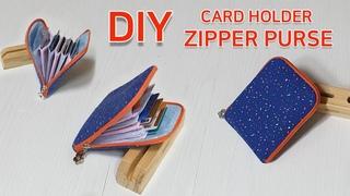 DIY Credit card holder zipper purse tutorial/Pouch wallet ideas/카드지갑 만들기[jsdaily]