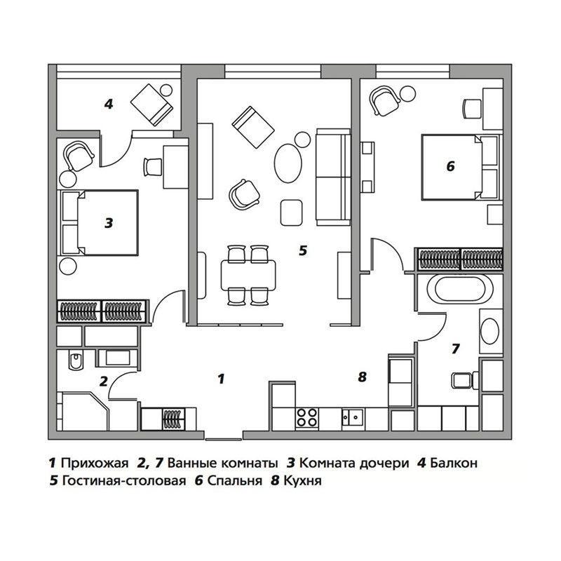 Квартира по проекту студии Lake and Walls в Москве, 97м²