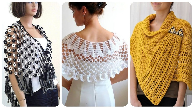 Latest And Stylish Handmade Crochet Caplets Poncho And Cap Shawl Styles