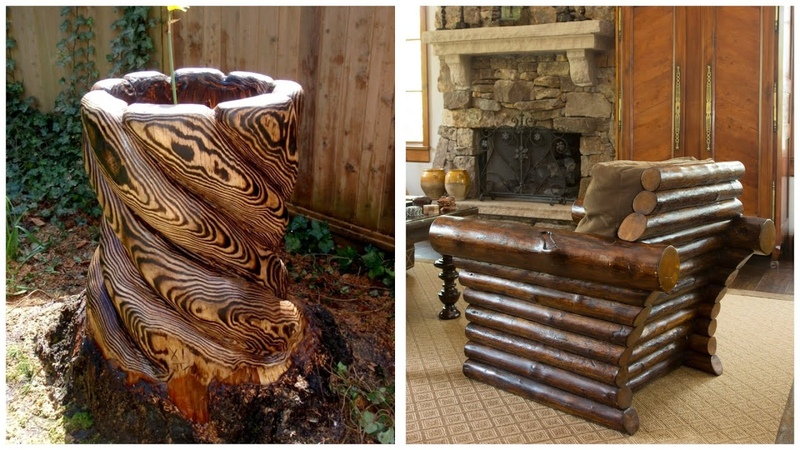 80 beautiful ideas from wooden logs rustic furniture, garden decorations, crafts.