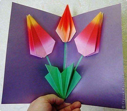 Тюльпан 1. Сделайте из листа квадрат. Отрежьте все лишнее. 2. Сложите квадрат пополам - 1 раз. 3. Теперь - по диагонали - 2 раза. 4. Продольные сгибы должны уйти внутрь и встретиться друг с