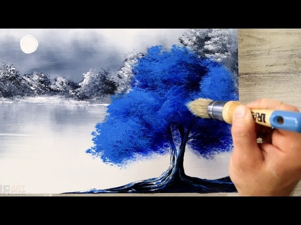 Blue Tree Black and White Landscape Easy Painting for Beginners Abstract Acrylics