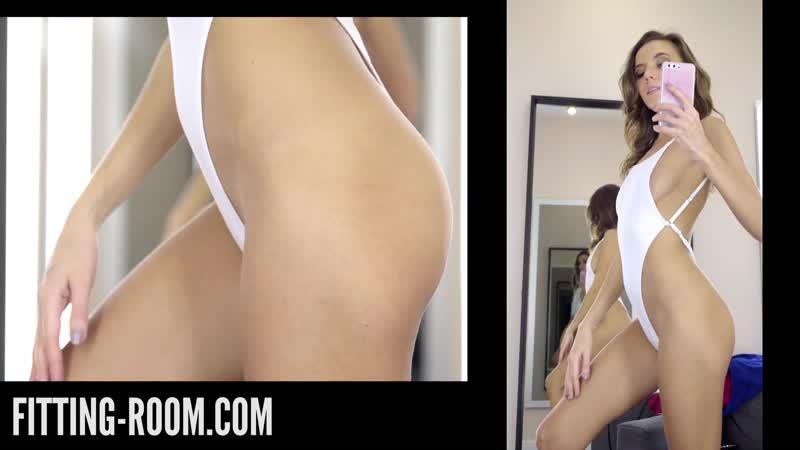 Katya Clover White Micro Thong Bodysuit Swimsuit girl try on hot sexy купальник нижнее белье