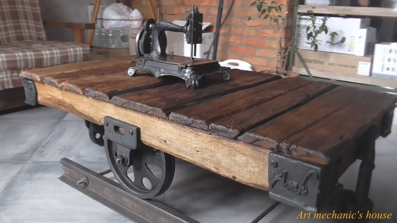 стол тележка лофт koffee table trolley Loft Industrial Style