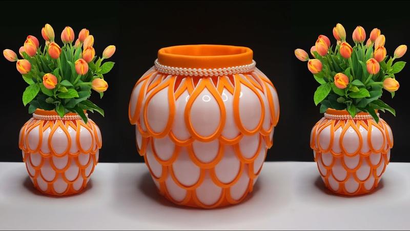 Amazing Flower Vase from Plastic spoons craft ideas Vas Bunga Cantik dari Sendok Plastik