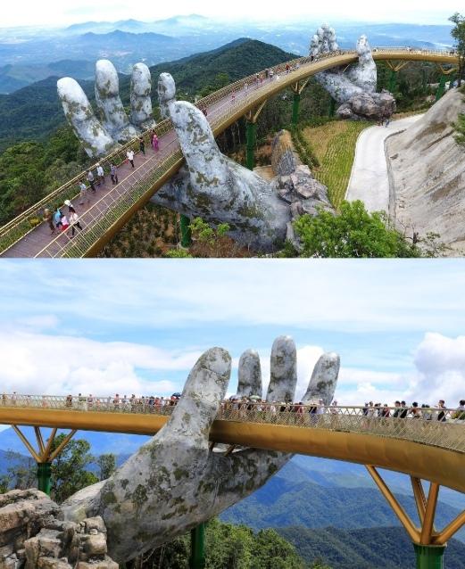 Во Вьетнаме есть мост — его опорами служат две...