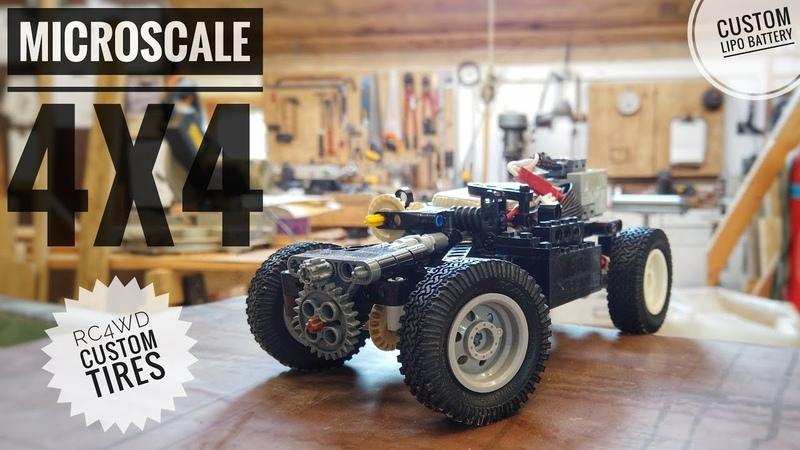 Lego Technic MicroScale 4x4 with RC4WD Tires LiPo Sbrick
