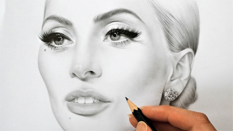 Drawing, shading and blending realistic female face (portrait of Lady Gaga) with graphite pencils