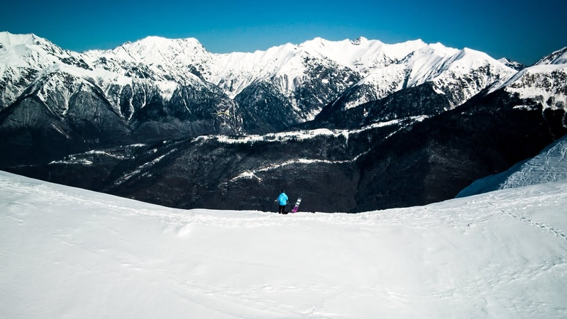 Snowboarding in the Mountains. Expectations vs Reality. Sochi. Russia. Rosa Khutor