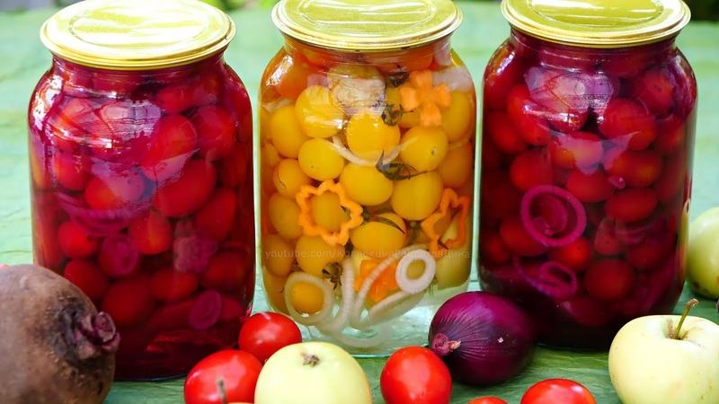 Сладкие маринованные помидоры на зиму в розовой заливке и не только!