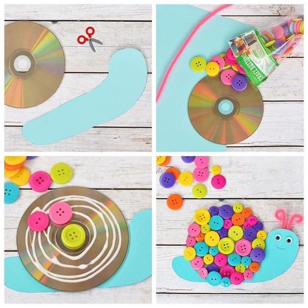 Летняя поделка из пуговиц и старого CD Просто, ярко и весело, детишкам понравится