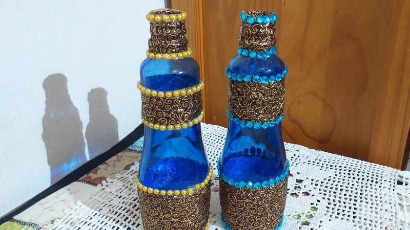 Garrafa decorada com papel de bombom