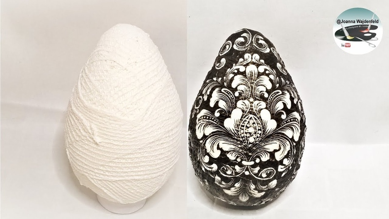 Jak zrobić jajo o podstawie z bandaża DECOUPAGE EGG BASED ON BANDAGE Pomysły plastyczne dla każdego