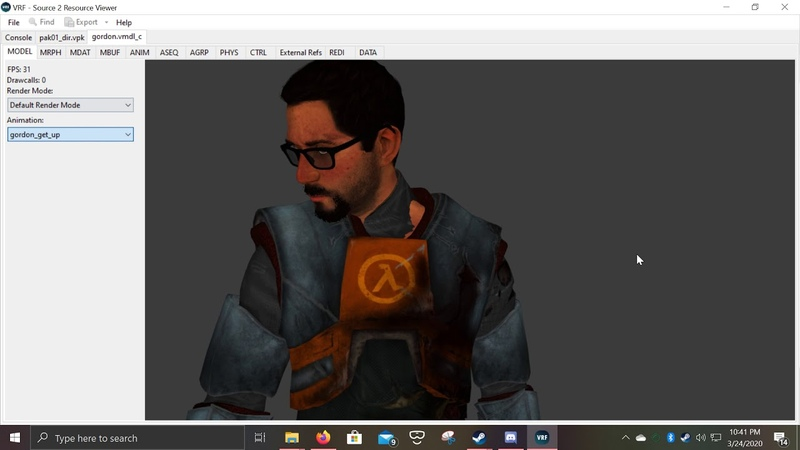 Gordon Freeman Model seen in HL Alyx and me and my friends discovering it HLA SPOILERS