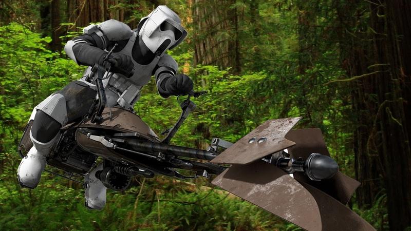 Star Wars Battle Pod Arcade Game - Endor Speeder Bike Gameplay - NYCC 2014