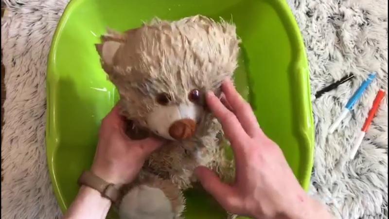 как стирать плюшевого медведя
