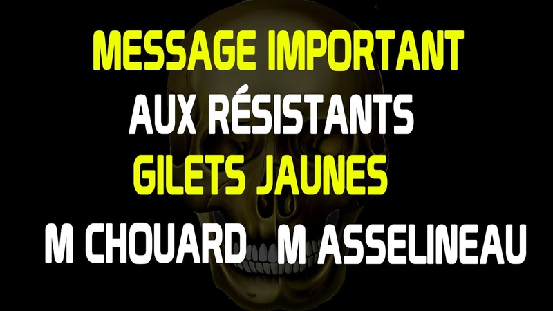 MESSAGE IMPORTANT aux résistants Gilets jaunes M Asselineau et M Chouard