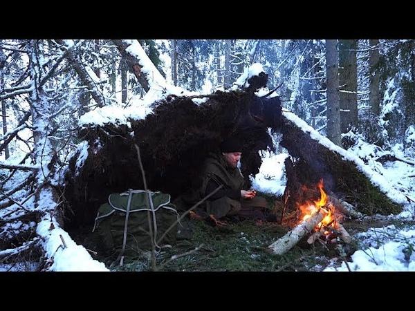 Winter Bushcraft Hike No Sleeping Bag Natural Shelter in Snowfall Lavvu Poncho